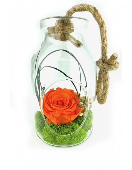 MAGNET'IK - Céramique aimanté avec rose éternelle jaune orangé
