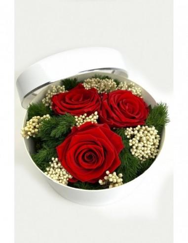 MAGNET'IK - Céramique grise aimanté avec rose éternelle fuchsia