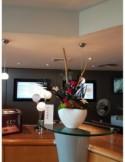 MAGNET'IK - Céramique aimanté grise avec rose éternelle fuchsia