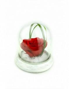 MAGNET'IK - Céramique aimanté blanche avec rose éternelle fuchsia